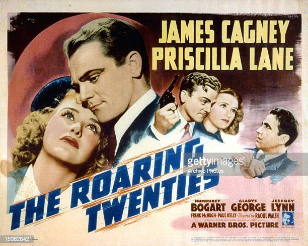Priscilla Lane and James Cagney in movie art for the film 'The Roaring Twenties' 1939