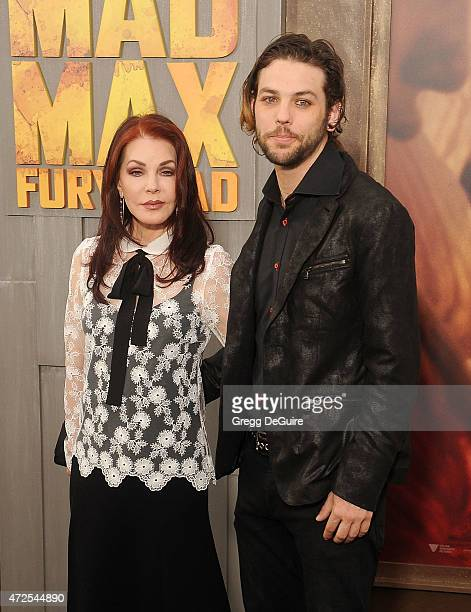 Priscilla Presley and son Navarone Garibaldi arrive at the Los Angeles premiere of 'Mad Max Fury Road' at TCL Chinese Theatre IMAX on May 7 2015 in...