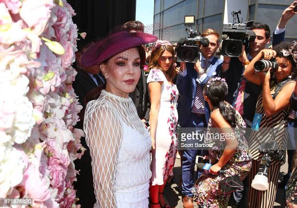 Priscilla Presley arrives at the Kennedy Marquee on Oaks Day at Flemington Racecourse on November 9 2017 in Melbourne Australia