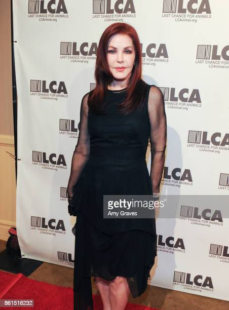 Priscilla Presley attends the Last Chance For Animals 33rd Annual Celebrity Benefit Gala Arrivals at The Beverly Hilton Hotel on October 14 2017 in...