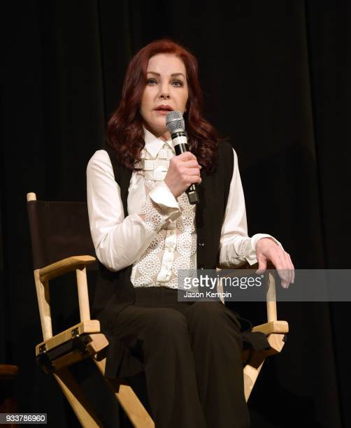 """Priscilla Presley attends the premiere of HBO's """"Elvis Presley: The Searcher"""" at The Belcourt Theatre on March 18, 2018 in Nashville, Tennessee."""