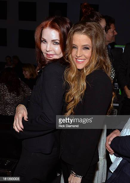 Priscilla Presley celebrates backstage with her daughter Lisa Marie Presley after Lisa Marie's performance at 3rd & Lindsley during the 14th Annual...