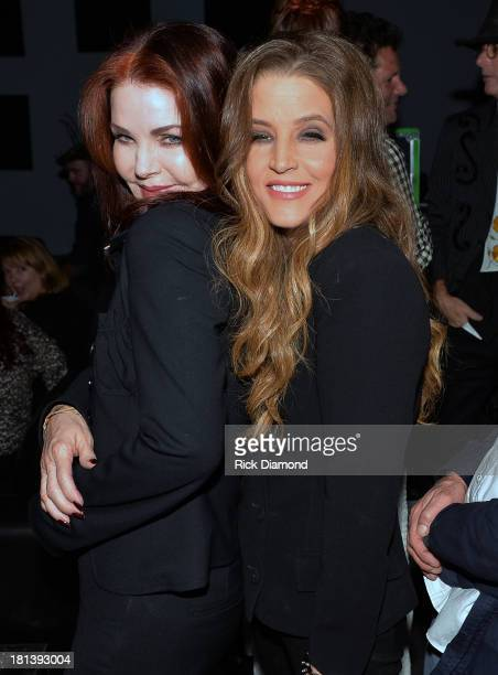 Priscilla Presley celebrates backstage with her daughter Lisa Marie Presley after Lisa Marie's performance at 3rd Lindsley during the 14th Annual...