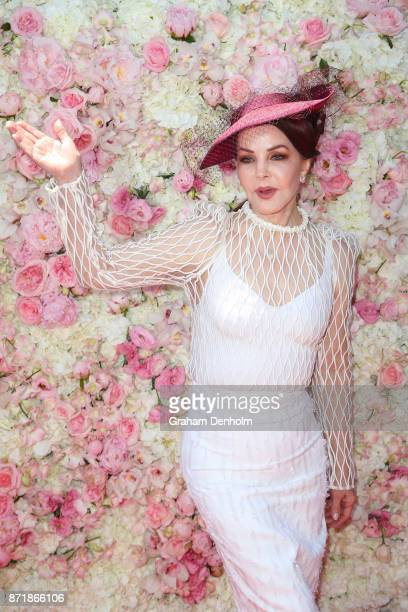 Priscilla Presley poses at the Kennedy Marquee on Kennedy Oaks Day at Flemington Racecourse on November 9 2017 in Melbourne Australia