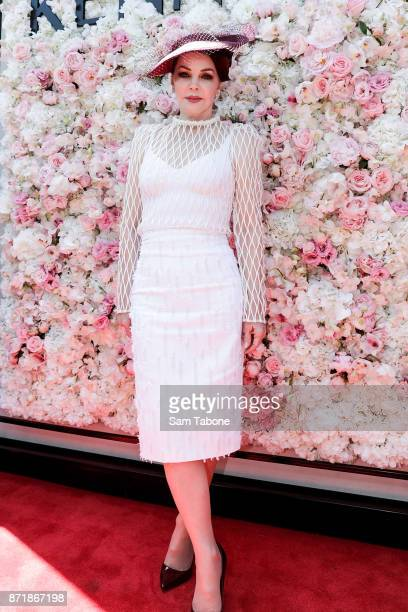 Priscilla Presley poses at the Kennedy Marquee on Oaks Day at Flemington Racecourse on November 9 2017 in Melbourne Australia