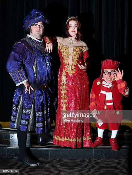 Priscilla Presley Warwick Davis and Jarred Christmas attend a photocall ahead of appearance in 'Snow White And The Seven Dwarfs' at The Savoy Hotel...