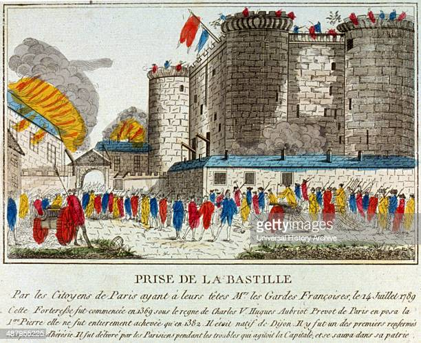 Prise de la Bastille par les Citoyens de Paris C'est ainsi que l'on punit les traitres 1789 Citizens with guns and pikes outside of the Bastille July...