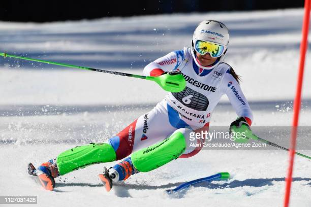 Priska Nufer of Switzerland competes during the Audi FIS Alpine Ski World Cup Women's Alpine Combined on February 24, 2019 in Crans Montana...