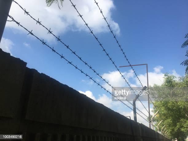Prison barbwire fence