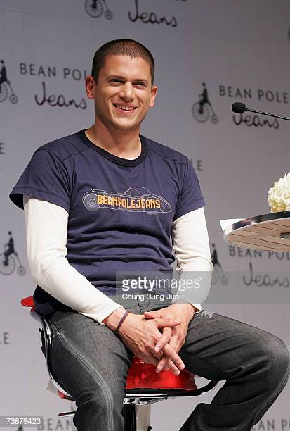 Prison Break actor Wentworth Miller appears at a press conference and a fan meeting on March 23 2007 in Seoul South Korea Miller is currently doing...