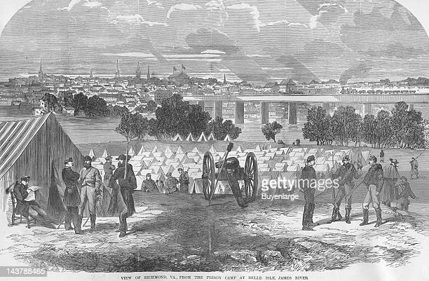 Prison Camp at Belle Isle near Richmond Richmond Virginia early to mid 1860s From an issue of Frank Leslie's Illustrated Almanac