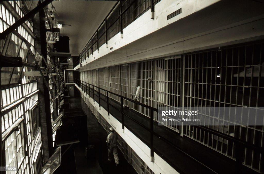 prison cells line a hall at the ellis death row unit april 16 1997