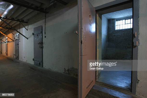 Prison cells stand with their doors open at the former prison of the East German communistera secret police known as the Stasi at Hohenschoenhausen...