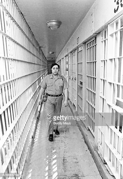 A prison guard in the maximum security unit of New Mexico State Prison 1979