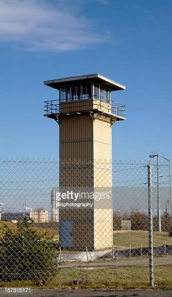 prison guard lookout tower - tower stock pictures, royalty-free photos & images