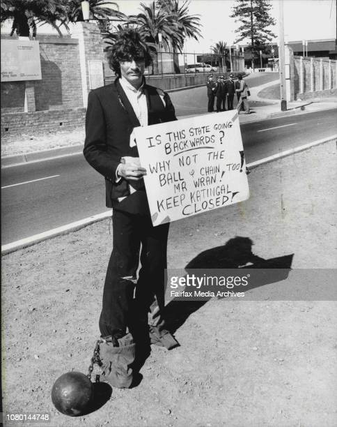 AD Prison Kevin Storey of the Prisoners' Action Group gets his point over in Anzac Parade outside Long Bay Jail todayIn a tattered suit with blanket...