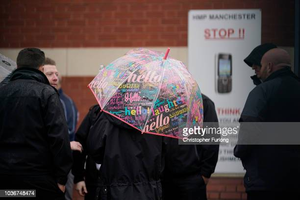 Prison Officers from Manchester Prison gather outside after staging a 'walkout' on September 14 2018 in Manchester England The Prison Officers...