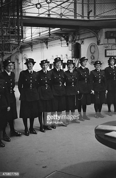 Prison officers waiting to hand in their keys after the 430 pm lockup at Holloway Prison north London March 1947 Built in 1852 HM Prison Holloway...