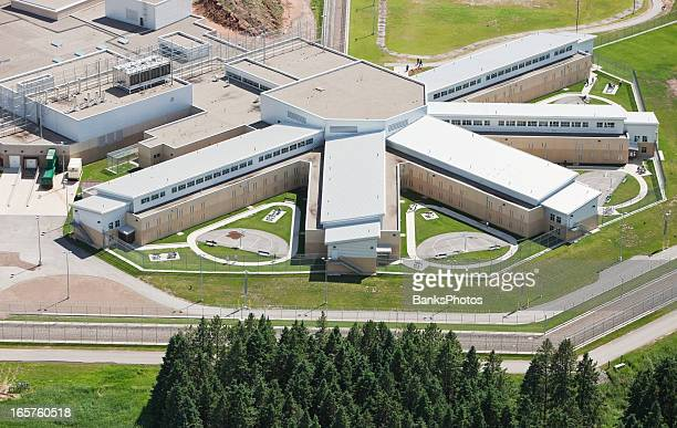 prison pod cell block aerial view - prison building stock pictures, royalty-free photos & images