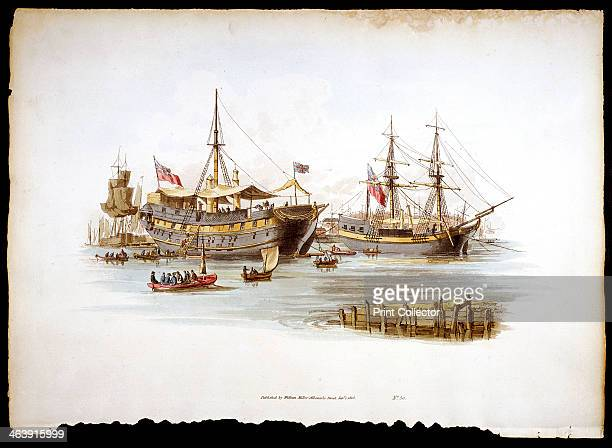 Prison ships in the Thames off the Tower of London 1805 Hulks were usually old naval vessels no longer considered seaworthy Each day the prisoners...
