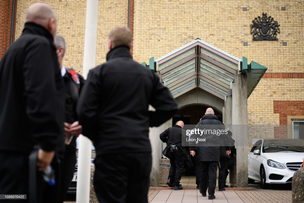Prison staff return to work inside HM Prison Bedford following an unofficial protest on September 14, 2018 in Bedford, England. The Prison Officers Association called for staff to stage an immediate walk-out this morning demanding the government improve safety in jails and reduce overcrowding and violence among inmates.
