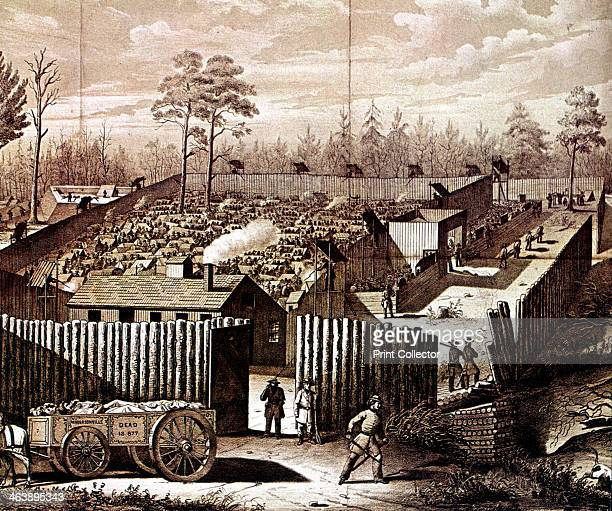 Prison stockade at Andersonville Georgia American Civil War 18611865 During the summer of 1864 32899 Union prisoners were confined here In the...