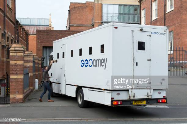 A prison van arrives at Worcester Crown Court transporting some of the six men appearing after being charged for an acid attack on a 3yearold on...