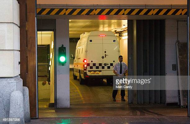A prison van arrives for the start of the trial of murdered teenager Becky Watts at Bristol Crown Court on October 5 2015 in Bristol England Four...