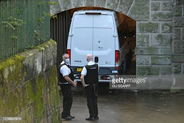 Prison van, believed to contain Lucy Letby, a British nurse charged with the murder of eight babies at a hospital in Chester, arrives at Chester...