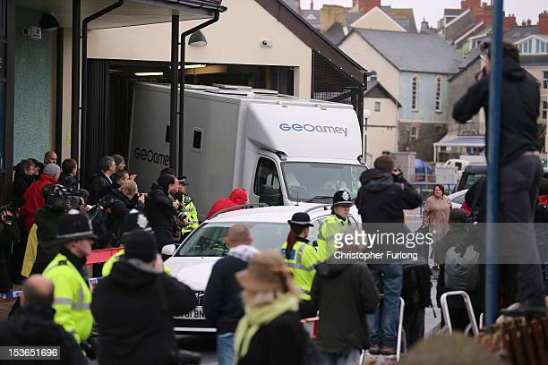 A prison van believed to contain Mark Bridger who has been charged with the murder of April Jones leaves Aberystwyth Justice Centre on October 8 2012...