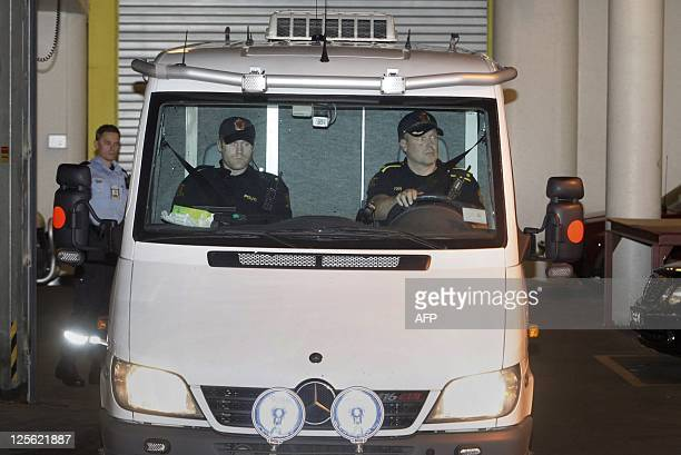A prison van carrying self confessed mass murderer Anders Behring Breivik leaves the central court in Oslo on September 19 2011 An Oslo court ruled...