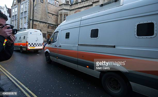 Prison vans leave Bristol Crown Court on November 13, 2015 in Bristol, England. Nathan Matthews was found guilty of murder of killing 16-year-old...