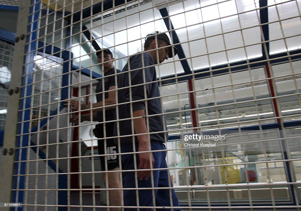 Prisoner Atif walks around at the Iserlohn prison on May 15, 2008 in Iserlohn, Germany. The prison in North Rhine-Westphalia inhabits 292 sentenced young men between 14 and 24 years and offers school education and different technical professions.