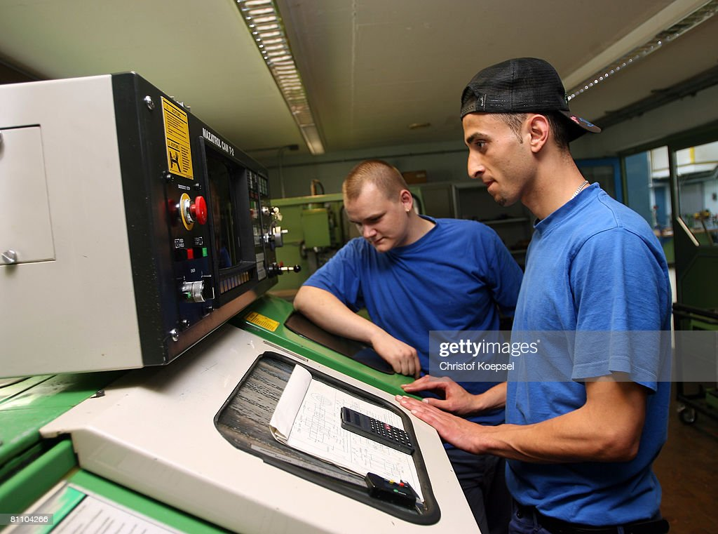 Prisoner Atif works to be a professional machinist at the Iserlohn prison on May 15, 2008 in Iserlohn, Germany. The prison in North Rhine-Westphalia inhabits 292 sentenced young men between 14 and 24 years and offers school education and different technical professions.