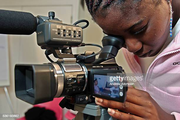 A prisoner filming an interview during media training at PRIME HMP Downview HM Prison Downview is a women's closed category prison Downview is...