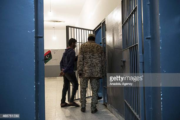 A prisoner is seen at the Milita prison where prisoners of war war kept in the Libyan town of Zliten on March 4 2015
