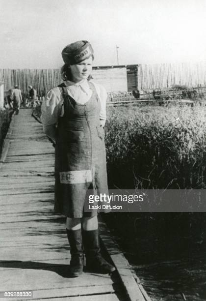 A prisoner of the Vorkuta Gulag one of the major Soviet labor camps Russia Komi Republic 1945