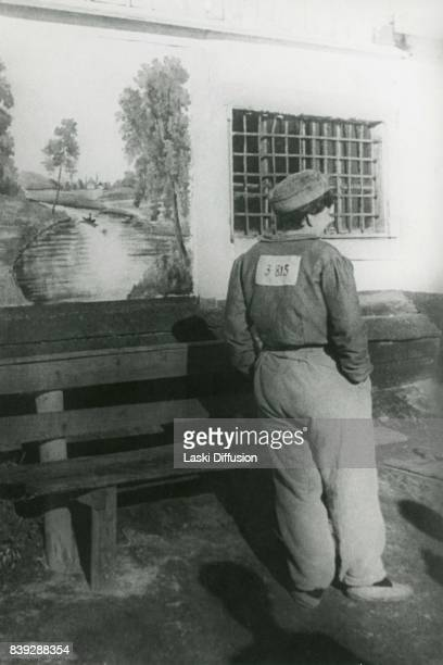 A prisoner of the Vorkuta Gulag Vorkutlag one of the major Soviet labor camps Russia Komi Republic 1945