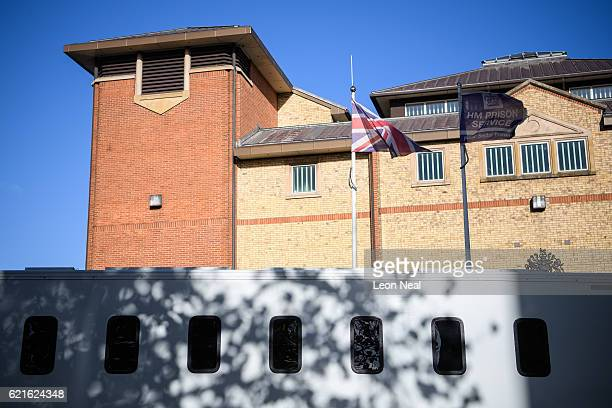 A prisoner transport vehicle is seen outside HMP Bedford on November 7 2016 in Bedford England Reports suggest between 150 and 230 prisoners were...