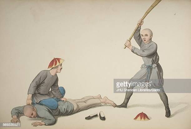 A prisoner undergoing the bastinade the beating of his feet by a guard with a bamboo pole 1806