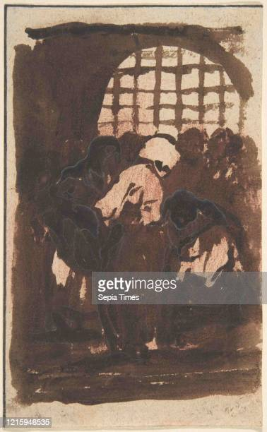 Prisoners, 1810-20, Brush with brown and black wash over red chalk on wove paper, 5-15/16 x 3-5/8 in. , Drawings, Attributed to Goya .