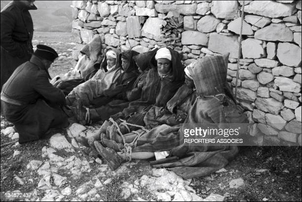 Prisoners and French soldiers during 'Operation Bigeard' in March 1956 when an armed outbreak in SoukAhras South of Constantine region Algeria led to...