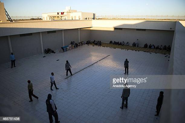 Prisoners are seen at the yard of Milita prison where prisoners of war war kept in the Libyan town of Zliten on March 4 2015