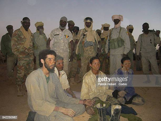 Prisoners are seen during a joint patrol of the Chadian army and the liaison unit of the French Special Forces after the raid of February 22....