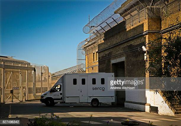 Prisoners are transported to prison by SERCO in high security vans HMP Wandsworth London United Kingdom
