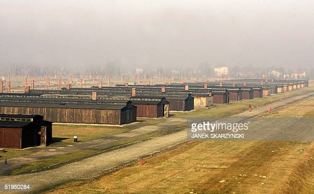 Prisoners' barracks of the Auschwitz-Birkenau death camp are seen 12 January 2005. The 60th anniversary of the liberation of the camp by Soviet army...