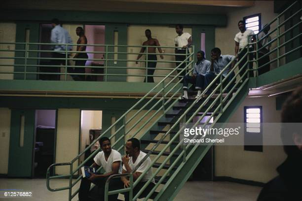 Prisoners converse on the stairway in the parole violation wing of Buckingham Correctional Institution the maximum security prison in Buckingham...