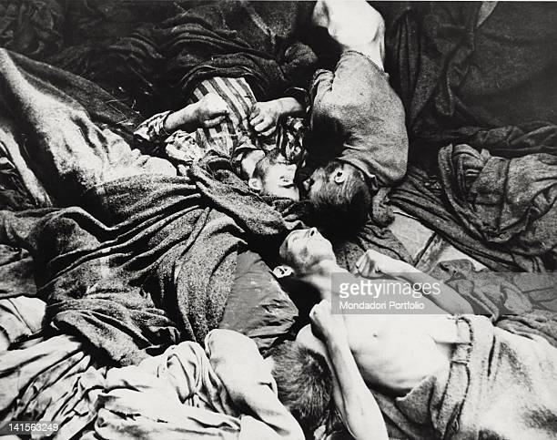 Prisoners corpses in the extermination camp of Dachau Germany 1945