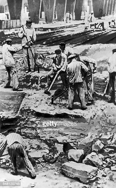 Prisoners doing forced labor at a clincer factory undated