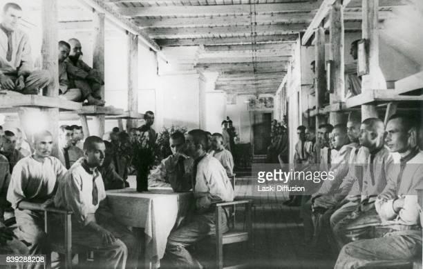 Prisoners of the Vorkuta Gulag - one of the major Soviet labor camps, Russia, Komi Republic, 1945.